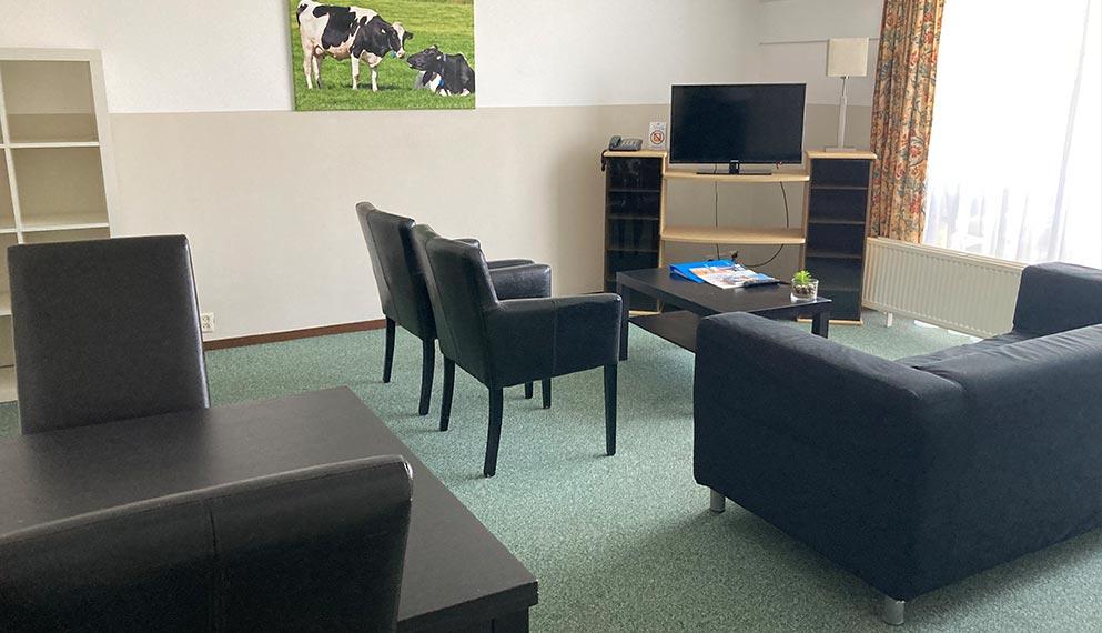 Appartement indeling woonkamer met tweepersoons bedbank